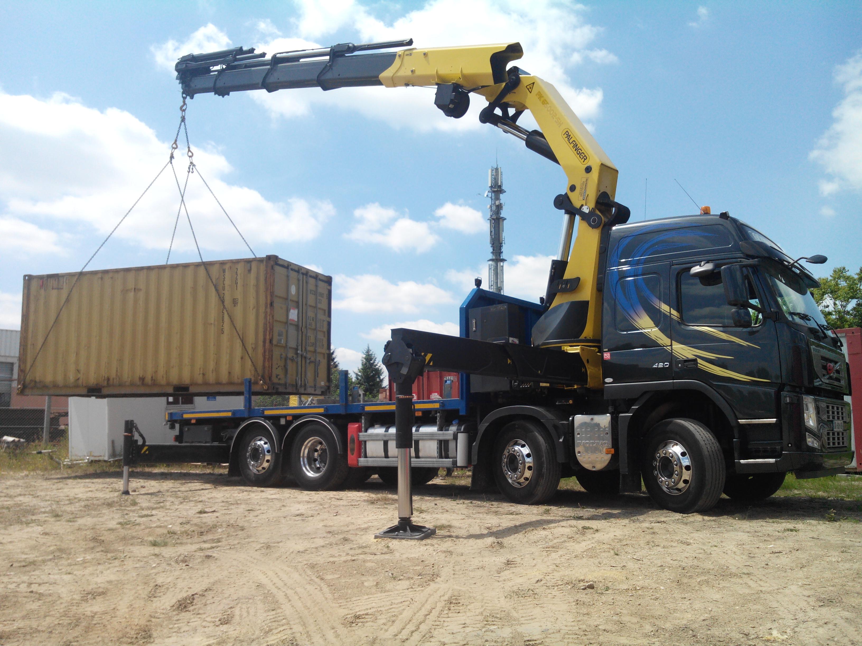 Grue pk62002 sh avec plateau porte container - Camion porte container avec grue occasion ...